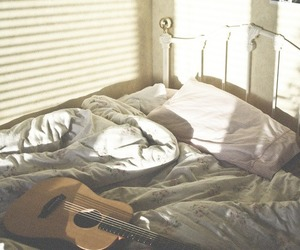 guitar, bed, and bedroom image