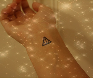 deathly hallows, harry potter, and stars image