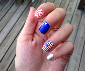 america, fourth of july, and nails image