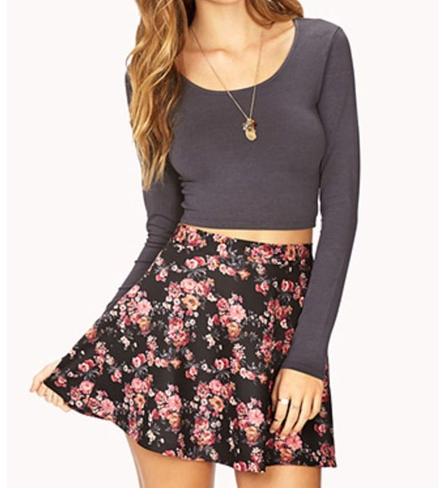 4f0ef53d91f5a Cute floral skater skirt and crop top on We Heart It