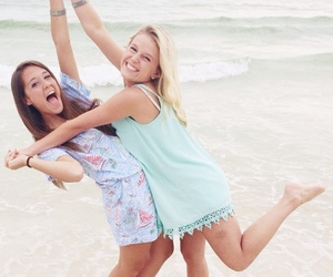 beach, best friend, and blonde image