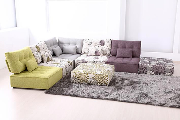 Furniture. Bring The Brightness From Colorful Flower Floor Couch: The Nice  Cozy Low Seated Sofa For Living Room Furniture Ideas Ottoman And Carpet  Design By ...