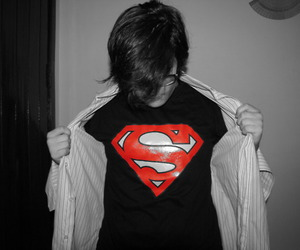 boy, superman, and black and white image