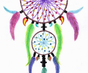 bright colors, dreamcatcher, and feathers image