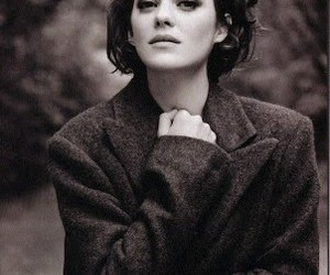 Marion Cotillard, black and white, and woman image