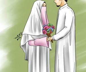 Muslim Wedding Couple Cartoon
