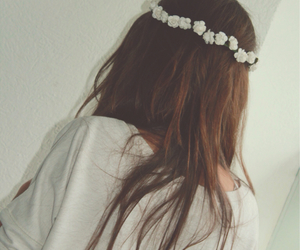 flower crown, flowers, and hair image