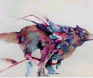 wolf, art, and feather image