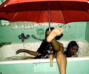 girl, fun, and umbrella image