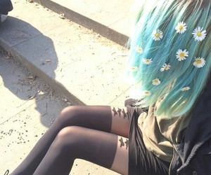flowers, grunge, and hair image