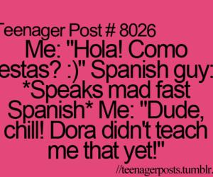 funny, spanish, and Dora image