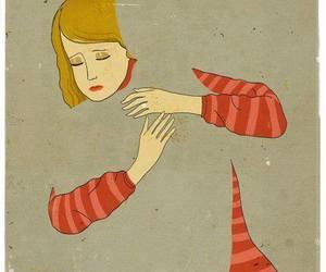 art, hug, and sad image