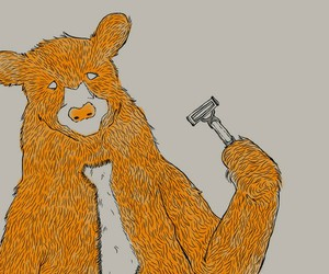 bear, illustration, and shave image
