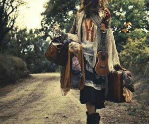 girl, hippie, and travel image