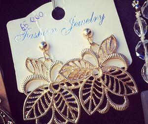 earrings, golden, and jewelry image