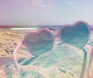 beach, heart, and summer image