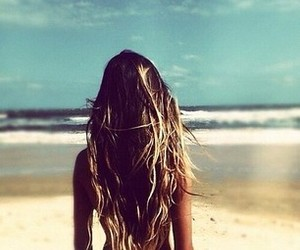 beach, hair, and surf image