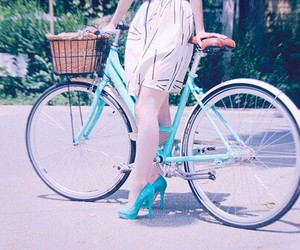 bicycle, legs, and turquoise image