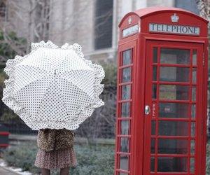 red, telephone, and umbrella image