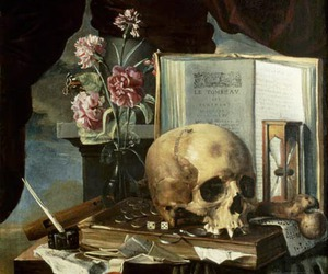 book, painting, and flowers image