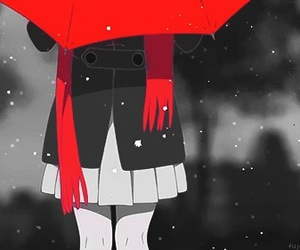 anime, snow, and red image