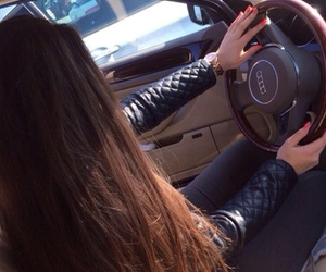 audi, girl, and driving image