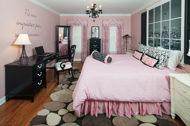 Feminine Pink Themed Teenage Bedroom Furniture Offering Pinkish Bedding  Black Dresser And Desk And Chair