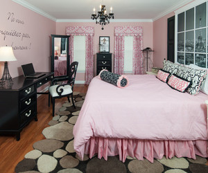bedroom, white and black, and pink walls image