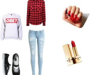lipstick, obey, and vans image