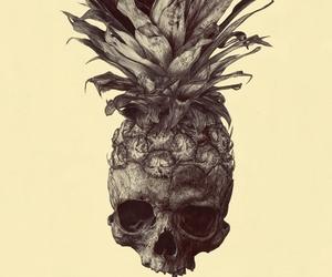 pineapple, skull, and art image