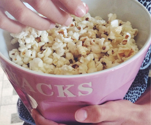popcorn, snacking, and snacks image