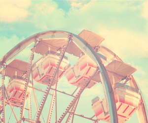 vintage, pink, and ferris wheel image