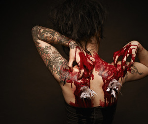 blood, girl, and tattoo image