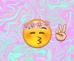 emoji, peace, and kiss image