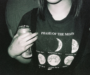 moon, girl, and phases image