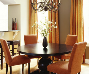 dining room, beautiful flowers, and small dining table image