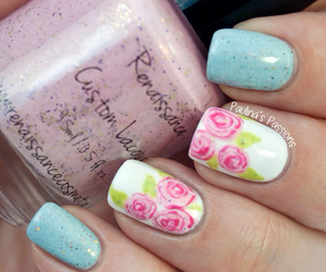 flower, nail art, and rose image