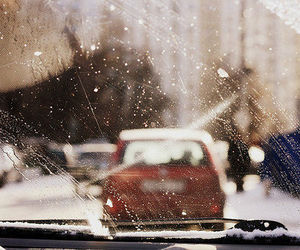 car, snow, and city image