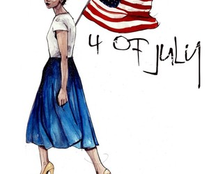 fashion illustration, usa flag, and 4 of july image