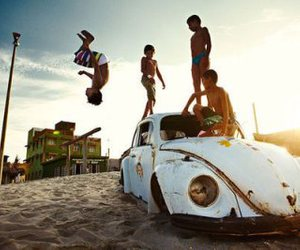 car, boy, and friends image