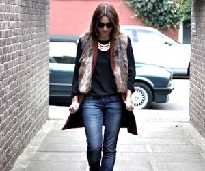 fur vest, fall outfit, and winter outfit image
