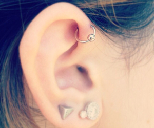 piercing, ear, and earrings image