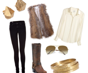 fur vest, outfit, and fall outfit image