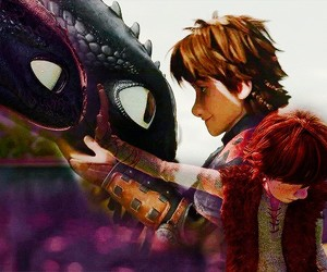 hiccup, toothless, and dragon image