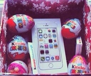 kinder, iphone, and chocolate image