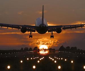 travel, plane, and sunset image