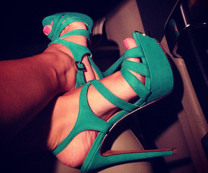 green, high heels, and night out image