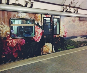 flowers, art, and train image