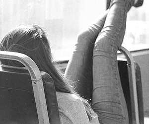girl, bus, and hair image