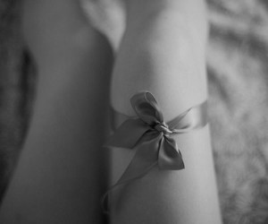 black and white, monochrome, and bow image
